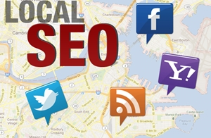 A map with various services tacked on top, representing local search marketing.